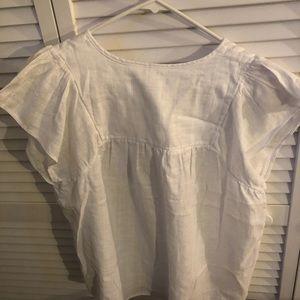 Optic white tie blouse